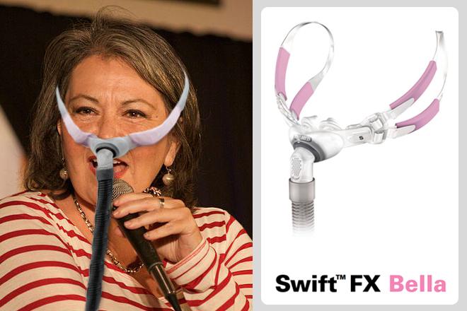 Roseanne-Barr-Swift-FX-Bella-Pink-CPAP-Mask